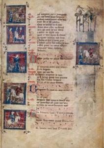"""Note per """"Le jeu de Robin"""", di Adam de la Halle, manoscritto medievale"""